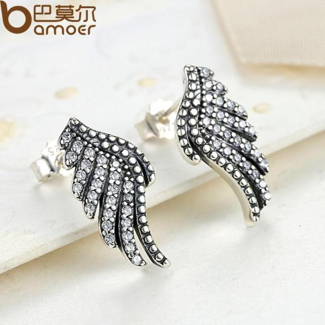 Sterling Silver Majestic Feathers Phoenix-Wing Earrings