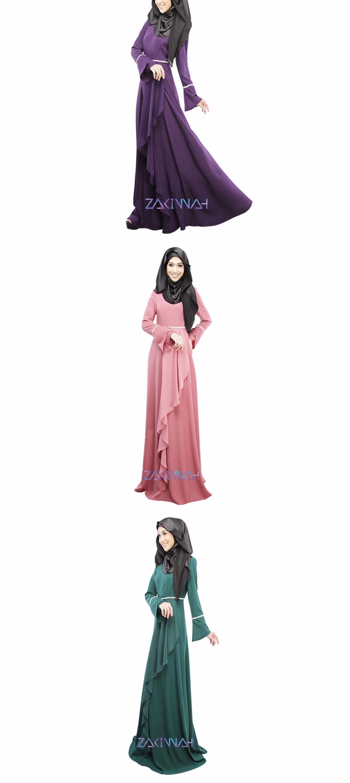 women plain color muslim hijab falbala design