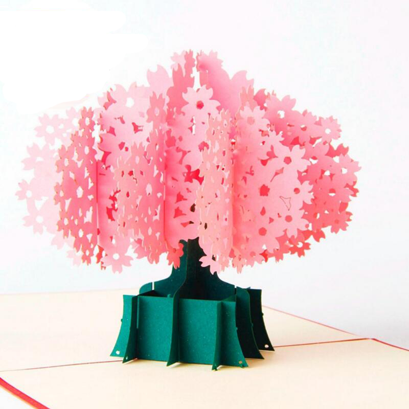 3D Pop Up Card Cherry Blossom Birthday Valentine Christmas Wedding Party Card Handmade Greeting Cards with Envelope 3pcs/lot 3d pop up the god of wealth creative gifts for birthday post card greeting cards holiday 1411r