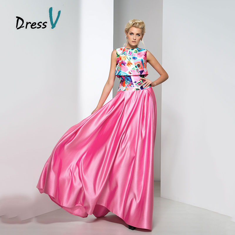 Aliexpress.com : Buy Dressv Two Piece Style Print Evening Dresses ...