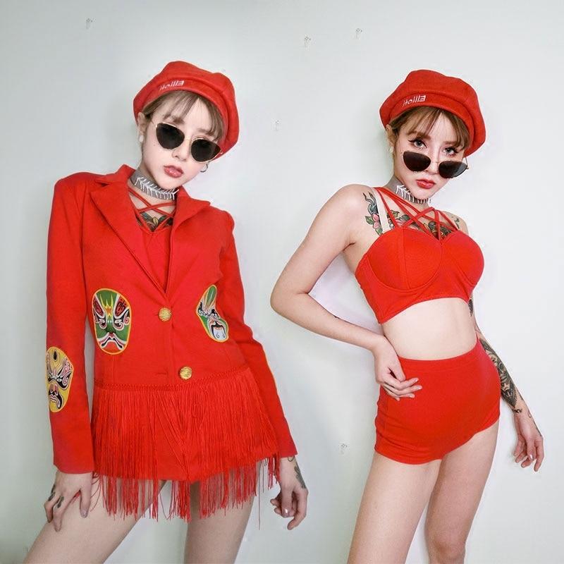 Ds Costumes discothèque Bar atmosphère Dj femme chanteuse robe scène Performance vêtements 3 pièce ensemble Rave vêtements ancien chinois