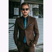 2017 New Brown Tweed wedding Men Suit Slim Fit 2 Piece Winter Tuxedo Custom Blazer Groom mens Suits Terno Masculino Jacket+Pant