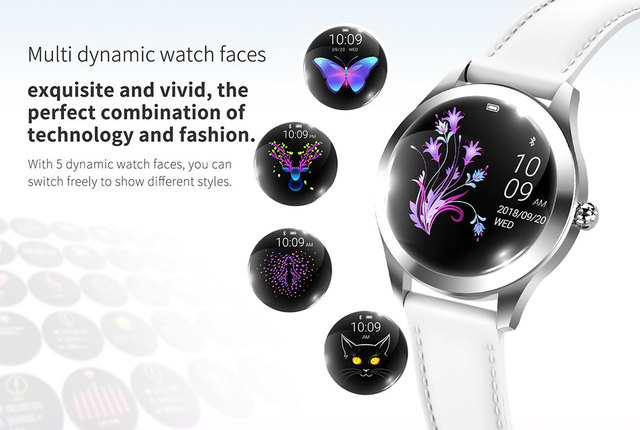 IP68 Waterproof Smart Watch Women Lovely Bracelet Heart Rate Monitor Sleep Monitoring Smartwatch Connect IOS Android KW10 band 2