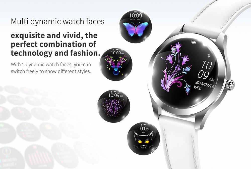 IP68 Tahan Air Smart Watch Wanita Indah Gelang Monitor Detak Jantung Tidur Pemantauan Jam Menghubungkan IOS Android KW10 Band