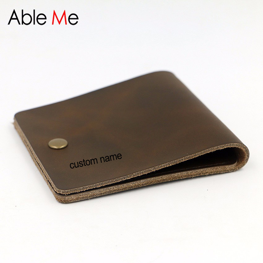 Custom Name gifts Stylish Handmade Men Wallet Short Section leather Men Purse Two Card Slots Creative Hand Made Purse male leather men wallet super thin leather handmade custom name slim purse men short small wallet card purse male
