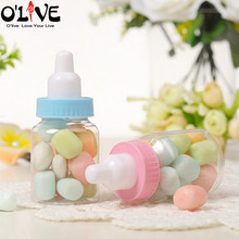 60 Pcs Baby Shower Candy Box Gift Plastic Feeding Bottle Baptism Sugar Boxes First Birthday Christening Decoration Communion