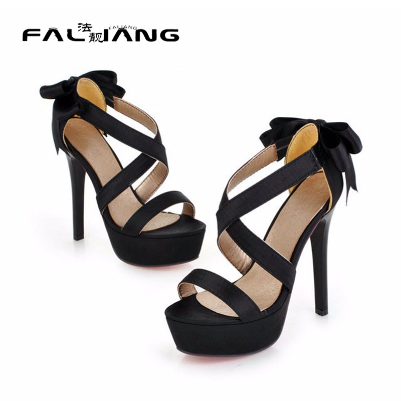 ФОТО Wedding party heels 2017 summer new fashion women's silk bow open toe sandals woman shoes Purple Black