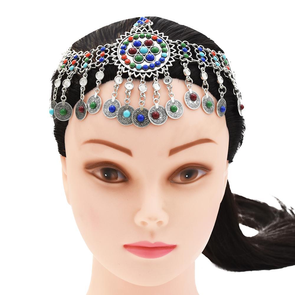 Jewelry-Set Chain Necklace Bracelet-Head Earrings Headpiece Tribal Drop-Afghan Jhumka
