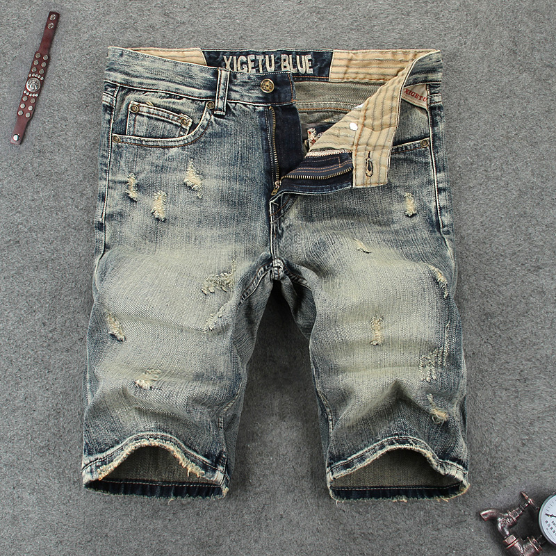 Italian Style Fashion Men's Jeans Shorts High Quality Retro Vintage Designer Denim Shorts Men Brand Summer Ripped Short Jeans