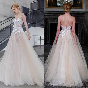 Alluring Tulle Sweetheart Neckline A-line Wedding Dresses With Lace Appliques Champagne Bridal Wedding Gown Sweep Train