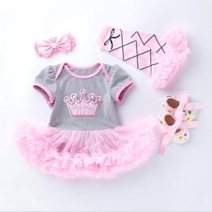 Image 2 - 4PCs pro Set Grau Rosa Nette 1st 2nd Geburtstag Baby Mädchen Tutu Kleid Prinzessin Crown Jumpersuit Stirnband Schuhe Leggins 0 24Months