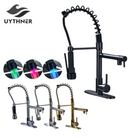 Uythner Modern Deck Mounted One Handle Kitchen Sink Fucet Tap LED Light Pull Down Dual Spout Bathroom Kitchen Mixer Faucets