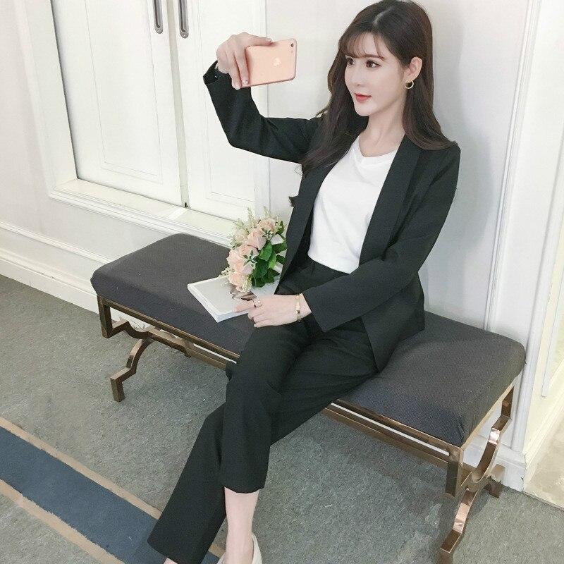 Ensemble femme 2018 été élégant mode solide couleur sauvage petit costume + pantalon décontracté + chemise de fond tempérament trois ensembles
