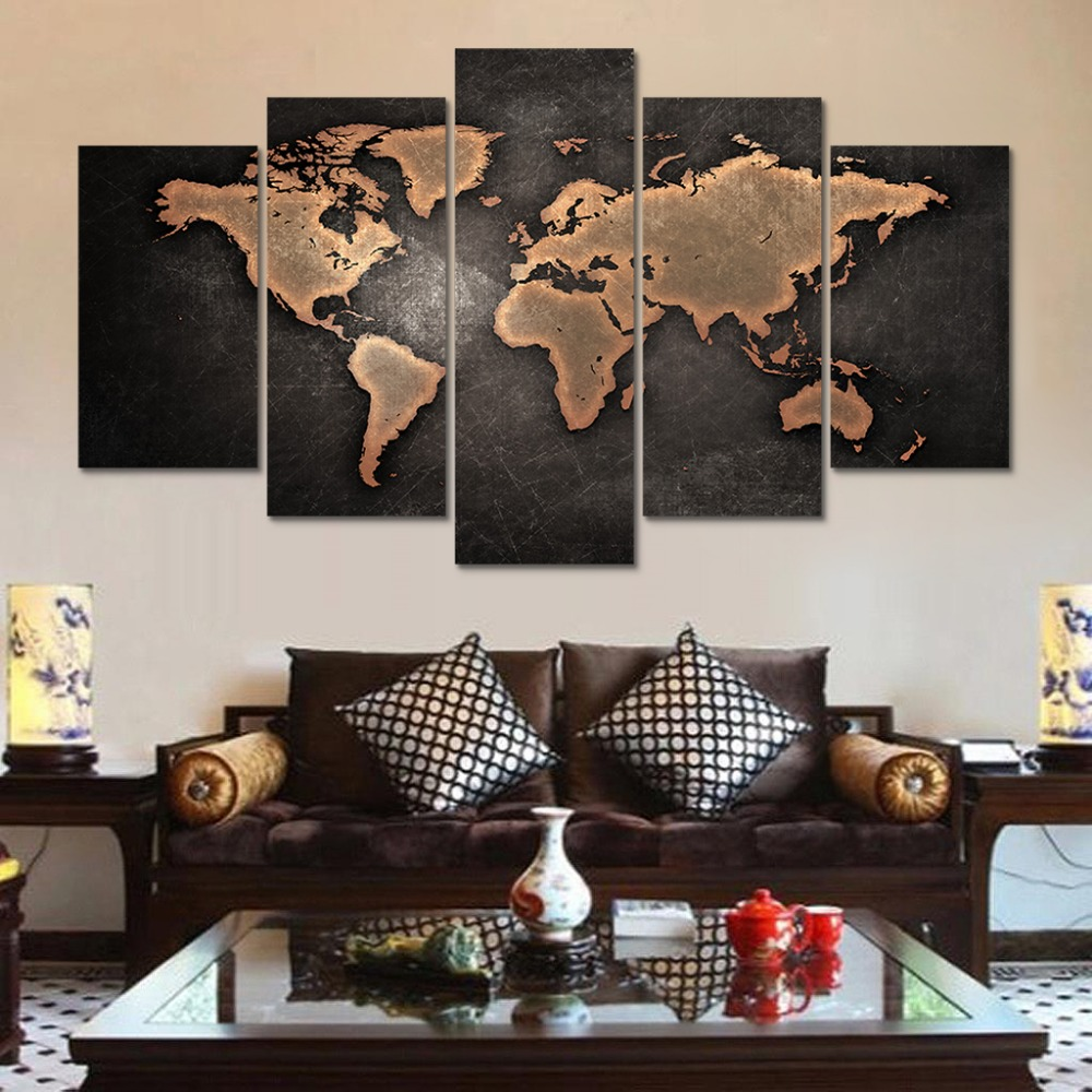 HD Print 5 Pcs Retro World Map Canvas Wall Art Painting Modern Home Decor For Living Room PT0803
