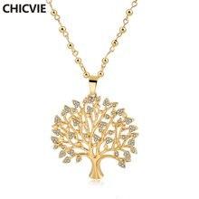 Chicvie Длинные ожерелья золотого цвета с деревом жизни подвески