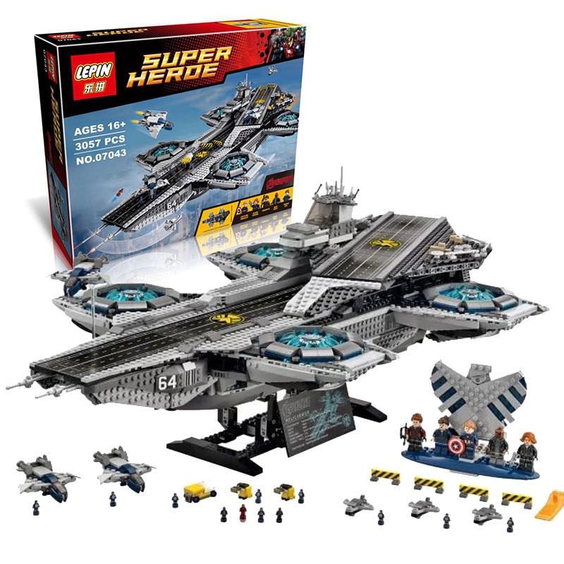 3057PCS LEPIN 07043 Super Heroes  The SHIELD Helicarrier Model Toys Building Blocks Bricks Compatible 76042