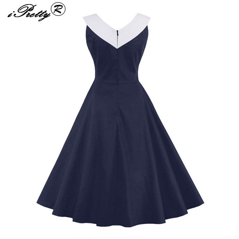 Vintage Print Women Cotton Dress Rockabilly Swing Sleeveless Party Dresses O Neck Hit Color 1950s 60s Retro vestido verano