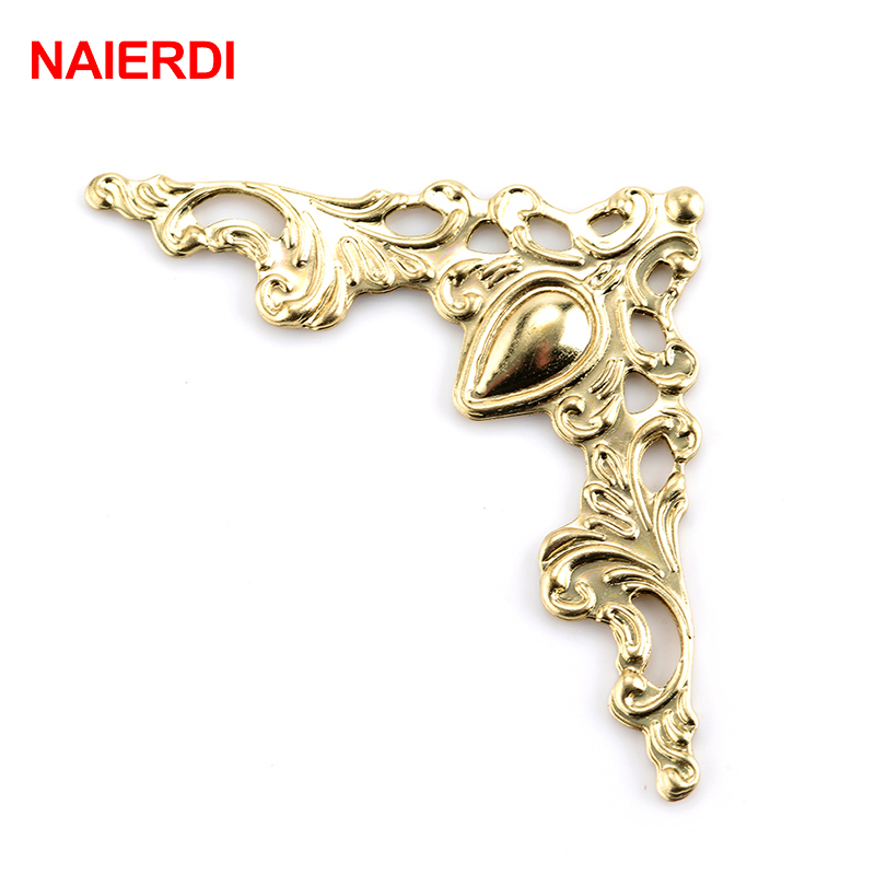 50PCS NAIERDI Metal Angle Corner Brackets Gold Bronze 40mm Notebook Cover For Menus Photo Frame Furniture Decorative Protector allen roth brinkley handsome oil rubbed bronze metal toothbrush holder