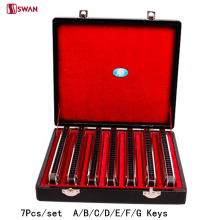 7Pcs/set Swan Harmonica 24 Hole Tremolo Harp A/B/C/D/E/F/G Keys Woodwind Musical Instrument Mouth Organ with Gift Box Gaita
