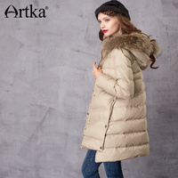 Artka Women Down Coat Winter Windbreaker 2017 Women S Hooded Parka With Fur Female 90 White