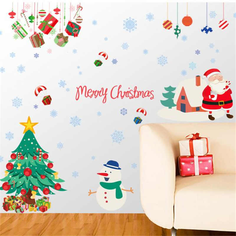 Image 4 - Merry Christmas Wall Stickers Wall Art Removable Home Decal Party Decor Santa Claus Window Transparent Film Stickers flowers-in Wall Stickers from Home & Garden