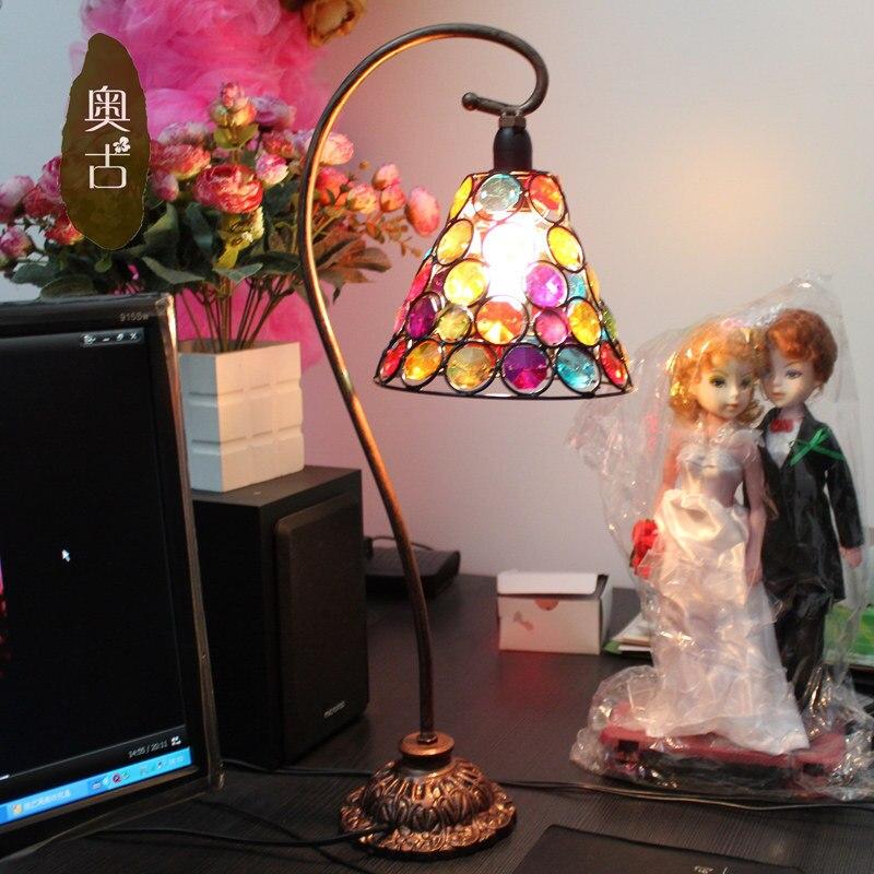 led bulb European beaded bedside lamp retro wedding marriage room bedroom living room A-57