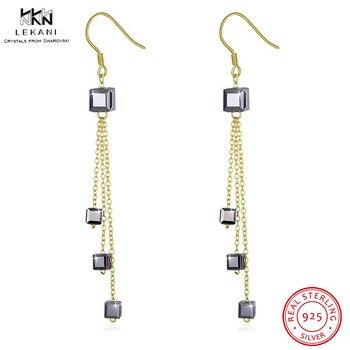 4c7873d26cb9 LEKANI cristales de Swarovski gota pendiente 925 cuadrado de oro gota  pendientes Simple largo regalo Farrings de moda joyería fina fiesta