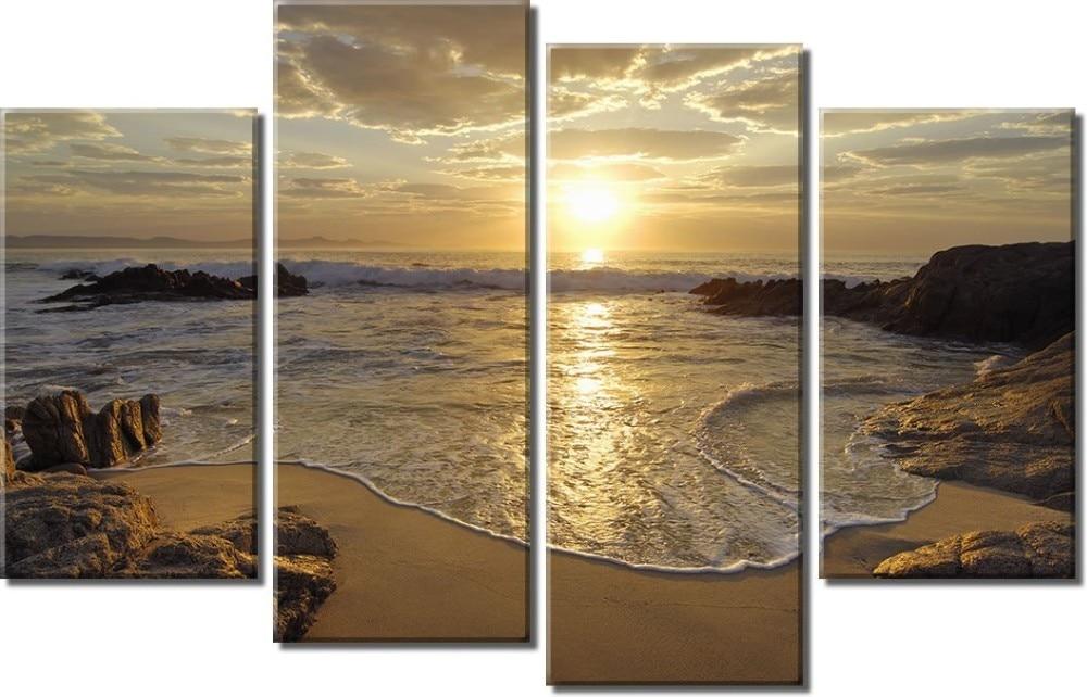 4 kusy plátna nástěnné umění s vysokým rozlišením tisk západ slunce západ slunce malba pokoj dekorace tisk plakát obrázek