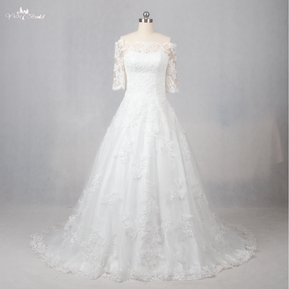 Simple Wedding Dresses Boat Neck: LZ099 Simple Lace Wedding Dress Custom Bride Princess Boat