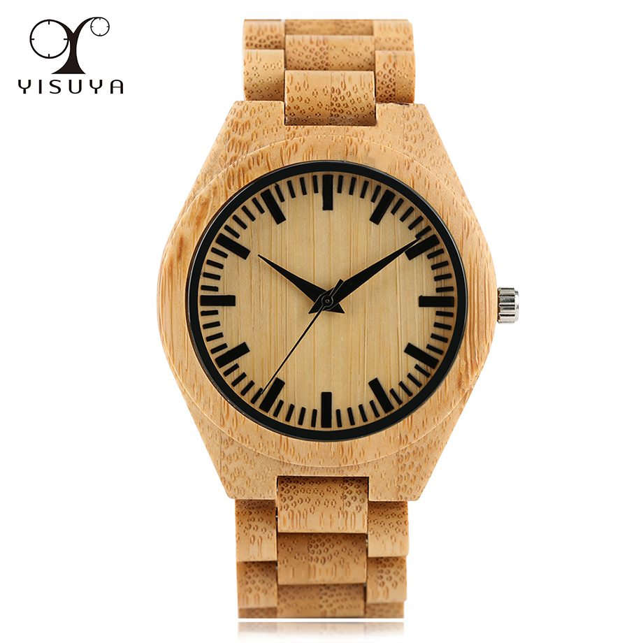 Bamboo Wooden Wrist Watch for Men Analog Quartz Movement Bracelet Clasp Bamboo Strap Watches+Gift Bag 2017 Fashion fashion nature wood wrist watch analog sport bamboo brown genuine leather strap for men women gift luxury wooden bamboo watch
