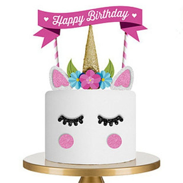Cut Rabbit Paper Cake Topper Kids Children Happy Birthday Cake