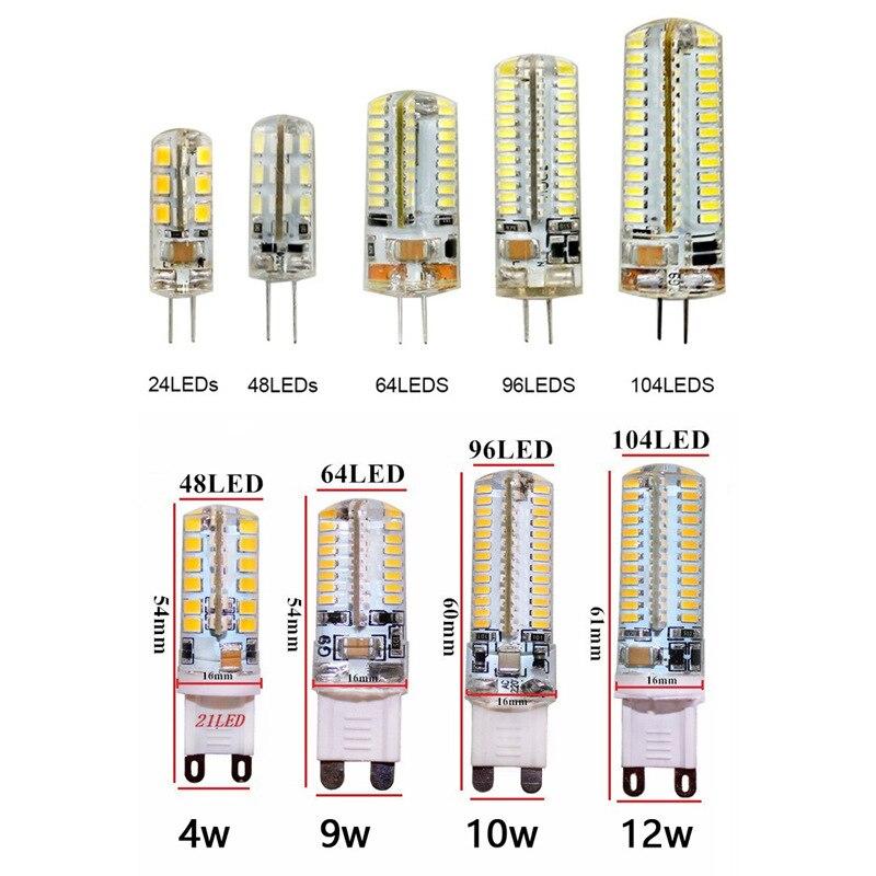 10 قطعة G4 G9 LED 12 V AC220V 3 W/7 W/9 W/10 W/ 12 W LED مصباح مصباح ليد لمبة SMD3014 2835 بومبيليا LED G4 مصباح هالوجين للمنزل الإضاءة