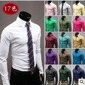 Nuevo 2016 de la manera 17 colores sólidos camisa para hombre vestido de negocios formal casual de negocios de manga larga camisa de ropa de hombre/CS3