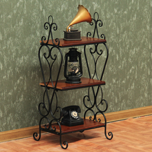 European Ground Iron Book Shelf Rack Shelf Vintage Multilayer Solid Wood Small Coffee Table Books Holder