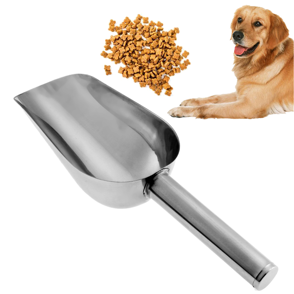Pet Feeding Shovel Cat Food Scoop Large Capacity Thickening Dog Food Scoop Spoon Stainless Steel Shovel Pet Feeder