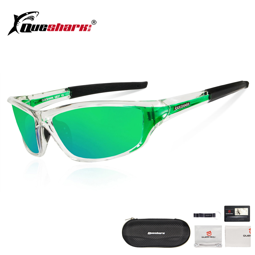 QUESHARK Ultralight Polarized Fishing Sunglasses Men Women Sports Running Hiking Angling Glasses Green Lens Fishing Eyewear