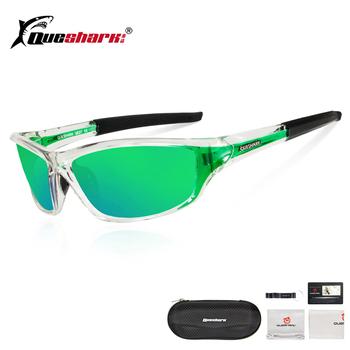 QUESHARK Ultralight spolaryzowane okulary przeciwsłoneczne okulary wędkarskie mężczyźni kobiety sport bieganie piesze wycieczki okulary wędkarskie zielone soczewki okulary wędkarskie tanie i dobre opinie QE27 Ochrona uv