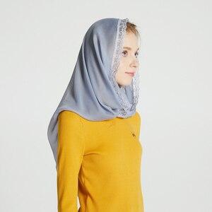 Image 2 - Leo anvi lụa Chiffon vành khăn Phụ Nữ ren Veil Headband Bìa Mantilla Latin Hàng Loạt Rắn Infinity Hồi Giáo hijab