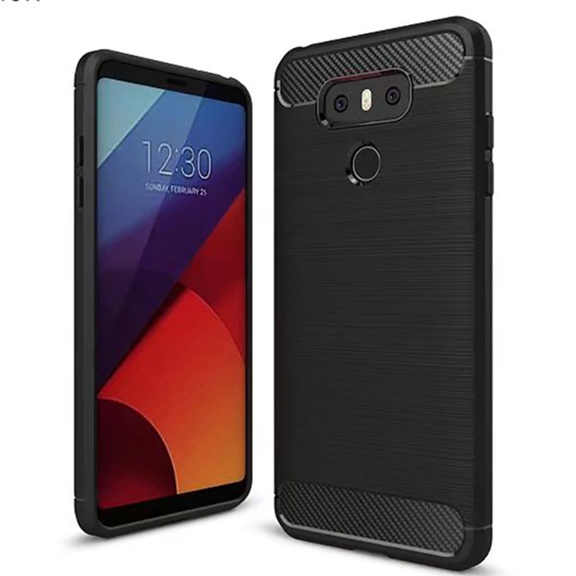 For LG G6 Case Brushed Texure Case Cover for LG G6 Silicone Soft Phone Case for LG G6 Carbon Fiber TPU Smart Phone Cover Back