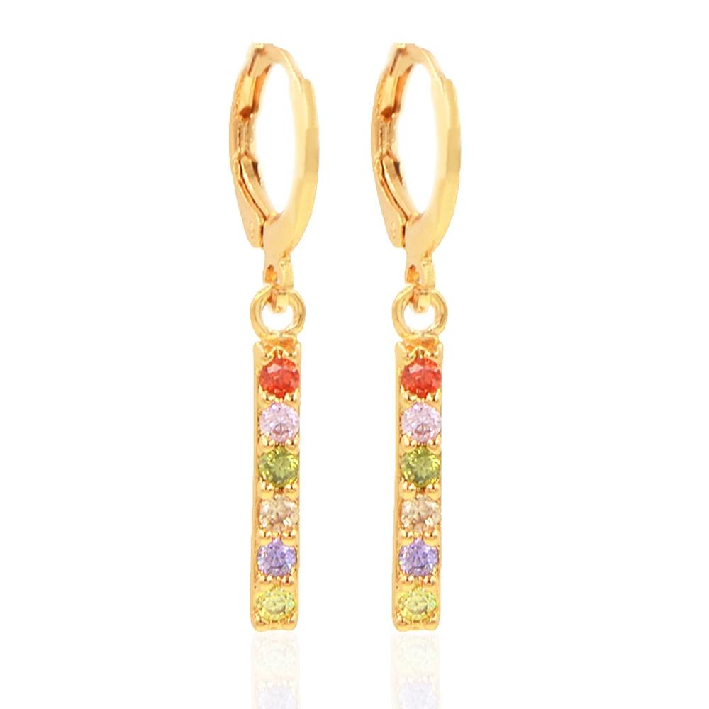 Fashion Gold Color Earrings Drop CZ Simple Women Girls ...