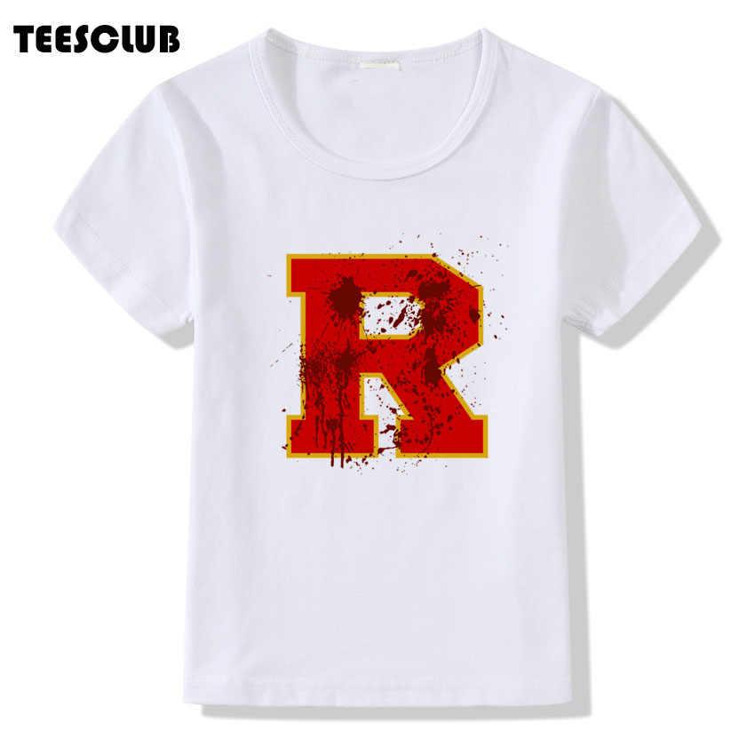 Summer Tops Boy Riverdale Southside Serpents Print T shirt Kids Novelty Red R Design Short Sleeve Tshirt Girls Clohting Children