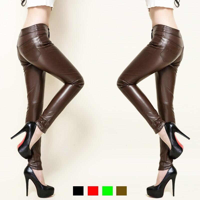 Оригинальные кожаные штаны Новое поступление полной длины овчины тонкий одноцветное Цвет женская одежда Лидер продаж карандаш брюки PANTS01