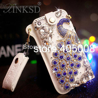 For Iphone 5 5S 4 4S Luxury Leather Bling Peacock Crystal Cover Rhinestone Diamond Case For