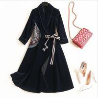 Long sleeve Vintage Dress 2018 new Spring fashion Lapel Lace Up Embroidery women elegant plus size XL velvet winter dress