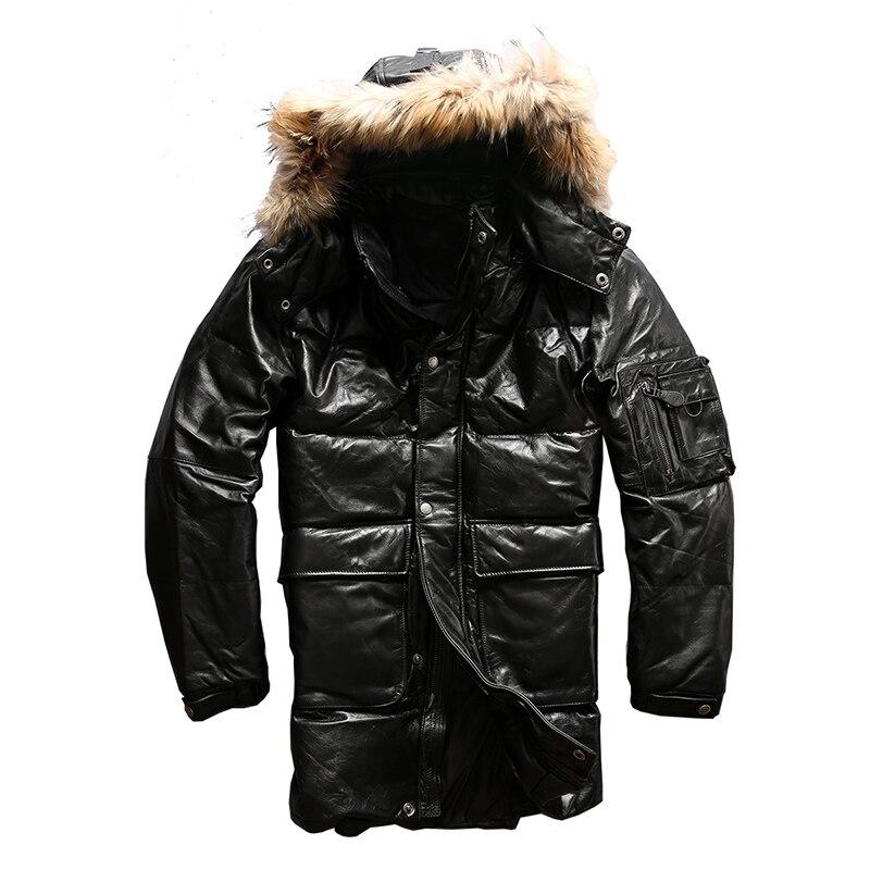 Высокое качество супер теплый из натуральной коровьей кожи утка вниз кожаная куртка мужская Повседневная натуральной кожи утка вниз куртк...