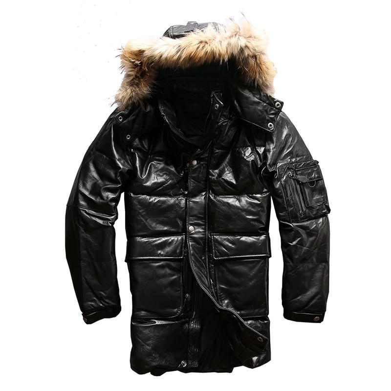 Lire Descriptif! Asiatique taille qualité super chaud véritable peau de vache canard vers le bas en cuir veste hommes en cuir de vachette canard vers le bas veste