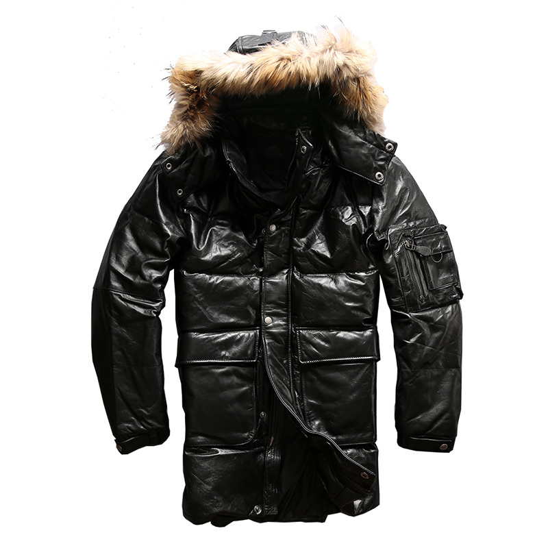 Read Description! Asian size quality super warm genuine cow skin duck down leather jacket mens cowhide leather duck down jacket