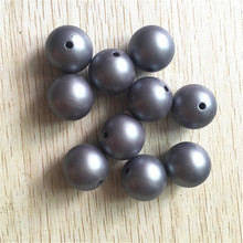 (choose size) 12mm/16mm/20mm grey color Acrylic Matte pearls Beads for Colorful Chunky Beads Necklace Jewelry(China)