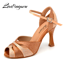 Ladingwu 2018 New Glitter Rhinestone Latin Dance Shoes Women Satin Salsa Dancing For Woman Tango Ballroom Dacne