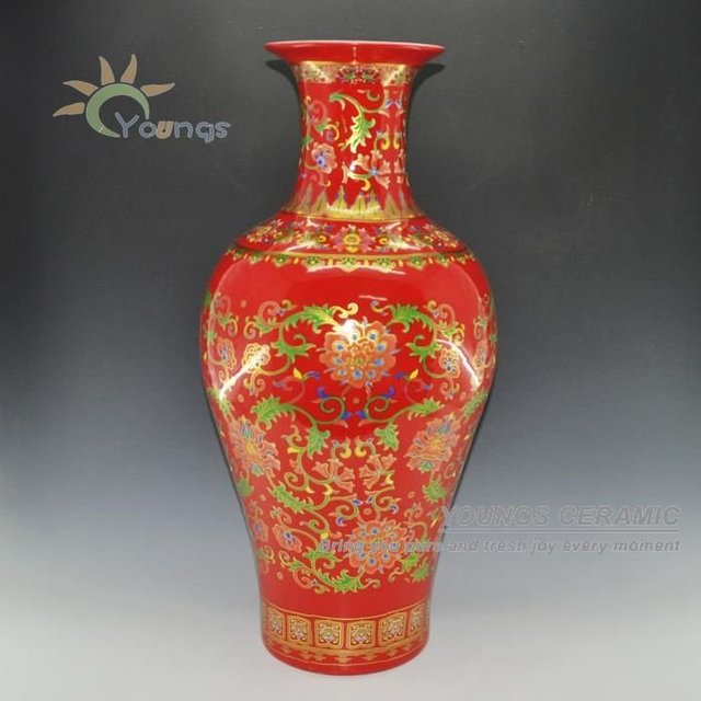 Chinese Red Porcelain Fish Tall Vase With Gold Flower Model H 69 Cm